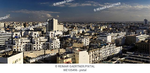 Panoramic view looking across the white Casablanca cityscape, Morocco