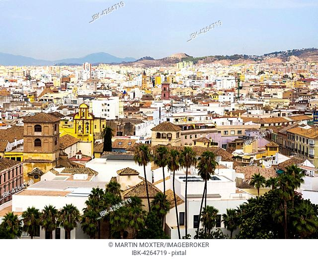 View from the Alcazaba fortress on the historic center of Malaga, Malaga province, Andalucía, Spain