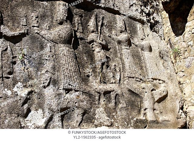 Picture of Yazilikaya  i e written riock , Hattusa The largest known Hittite sanctuary  13th century BC made in the reign of Tudhaliya 1V  5
