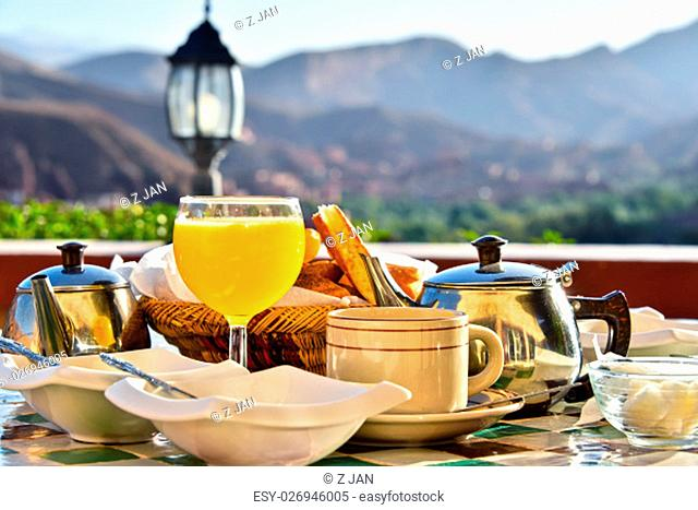 Moroccan breakfast served on hotel terace in Atlas Mountains
