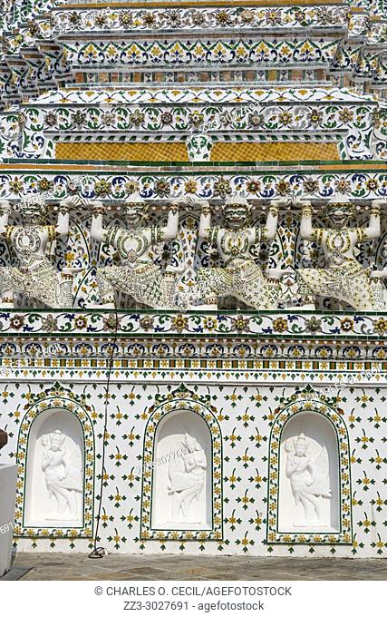 Bangkok, Thailand. Wat Arun Architectural Detail. Yakshas Supporting the Structure