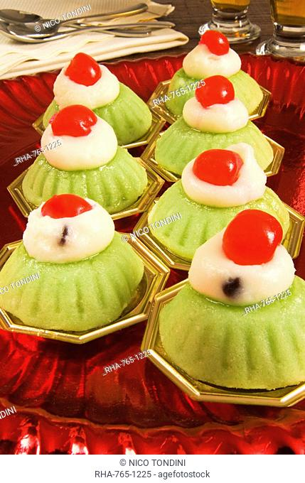 Cassata siciliana, a traditional cake covered in marzipan, Sicily, Italy, Europe