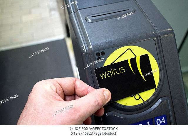 man using contactless merseytravel walrus card travel smartcard at train station entrance gate in liverpool