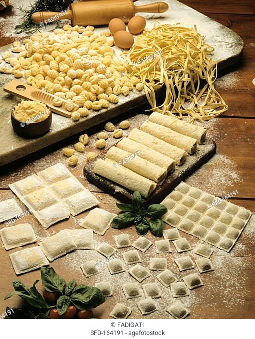 Still life with home-made noodles Not available in Latin America