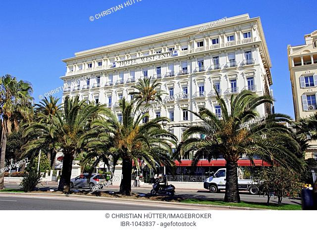 Hotel West End and palms, Nice, Alpes-Maritimes, Provence-Alpes-Cote d'Azur, Southern France, France, Europe