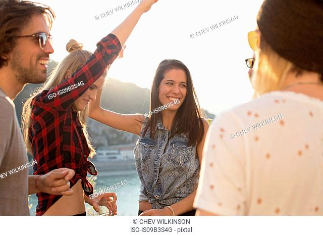 Adult friends dancing at roof terrace party on waterfront, Budapest, Hungary