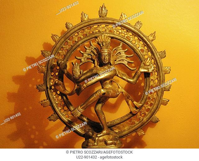 Indian golden statue, representing Nataraja (Shiva)