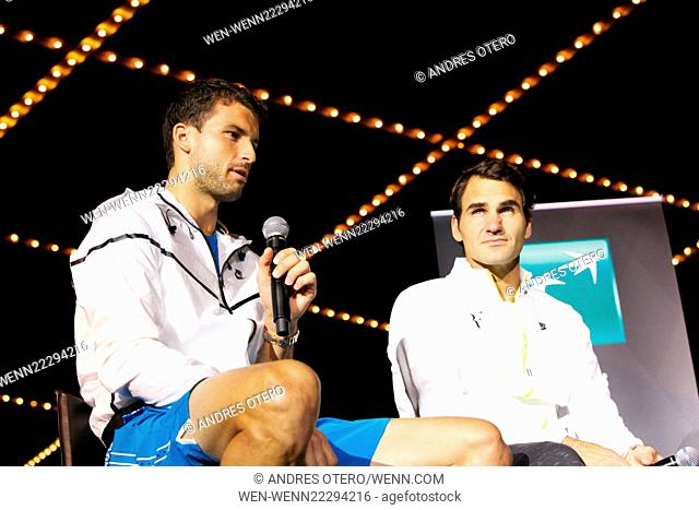 the BNP Paribas Showdown at Madison Square Garden on March 10, 2015 in New York City. Featuring: Grigor Dimitrov, Roger Federer Where: New York, New York