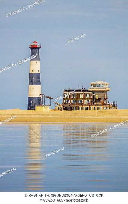 Light house and accomondations at Pelican Point Lodge, Walvis Bay, Namibia Africa *** Local Caption *** Pelican Point Lodge, Walvis Bay, Namibia Africa
