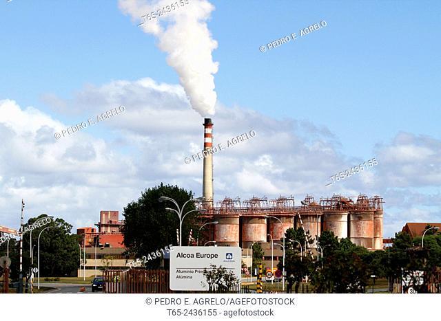 Tall chimney of the factory Alumina, Alcoa Europe. San Cibrao, on the Galician coast, in the province of Lugo