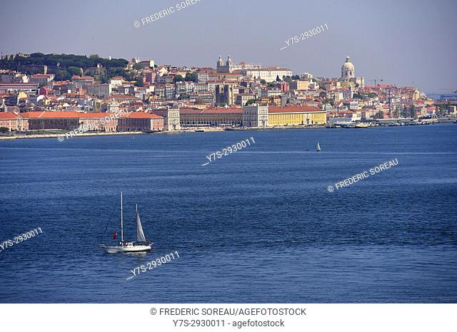 Tagus River view of the historic Lisbon skyline, Lisbon, Portugal