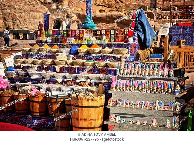Middle East. Egypt. Sharm El Sheikh. Local man at market stall. Close-up of spices and scents for sale