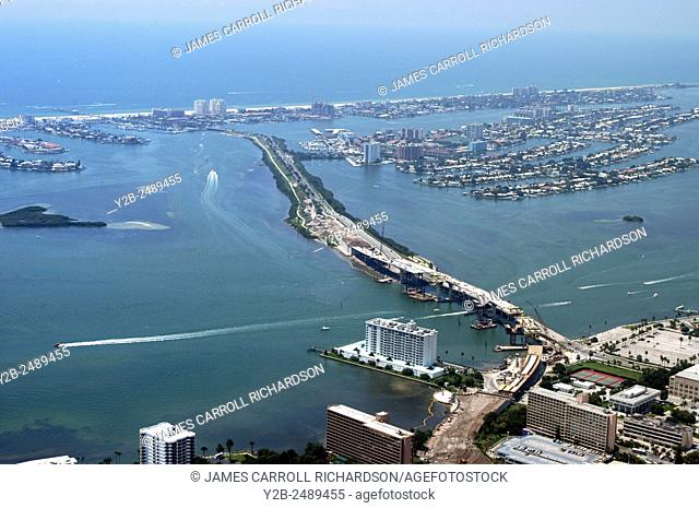 Aerial Tom Stuart Welch Causeway from Bay Pines to Made near Tampa Florida