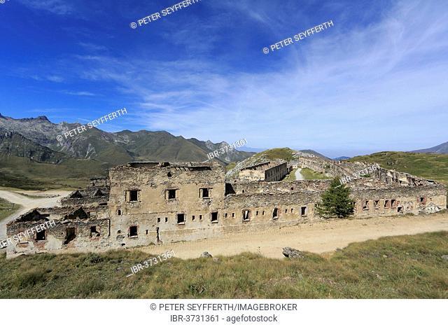 Ruins of the barracks at Fort Central on Tenda Pass, Tende, Département Alpes-Maritimes, Region Provence-Alpes-Côte d'Azur, France