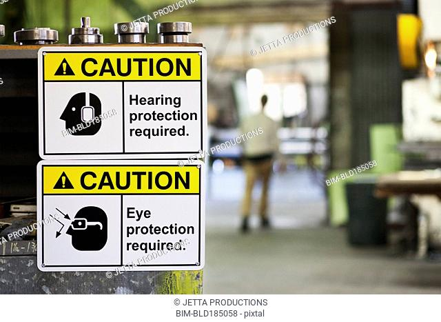 Close up of safety signs in factory