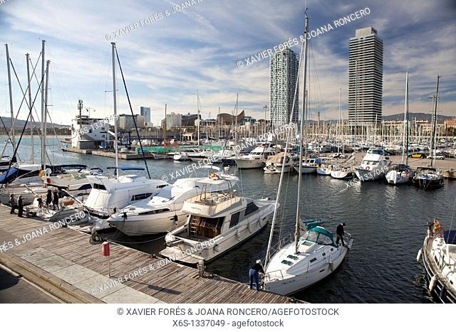 Olympic harbor, Mapfre tower and Arts Hotel, Barcelona, Spain