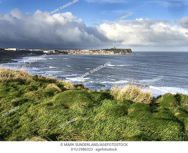 View from the Cleveland Way Footpath across South Bay to Scarborough North Yorkshire England