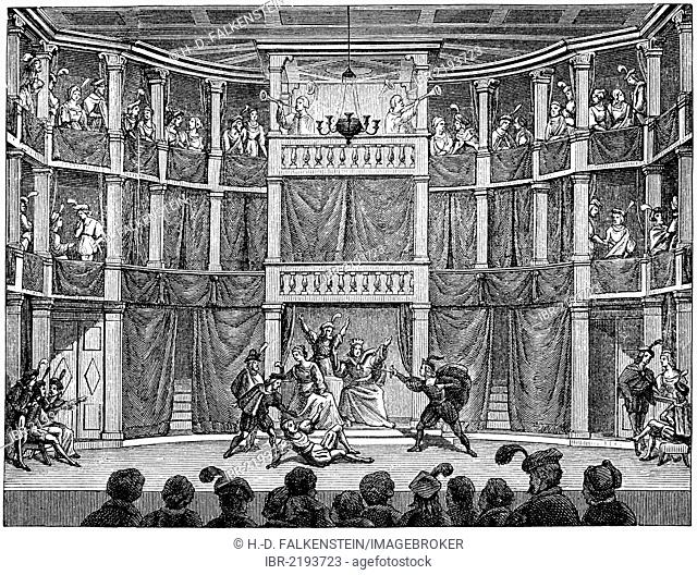 Historical print from the 19th century, interior view of one of an Elizabethan theater of the English Renaissance, a theater stage from the 15th or 16th century