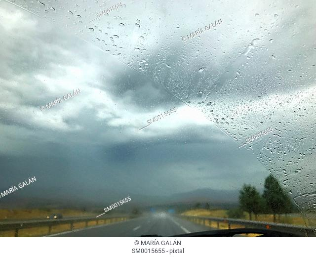 Driving in a rainy day
