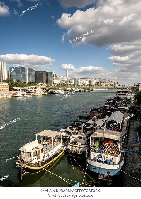House boat, River Seine bank, Port d'Austerlitz, Viaduct Austerlitz, Paris, France