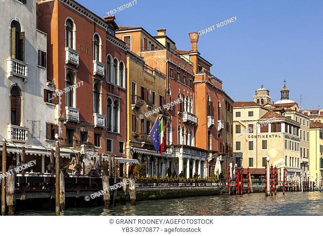 Venetian Hotels Along The Grand Canal, Venice, Italy