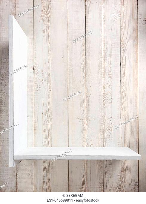 wooden shelves at white wall background texture