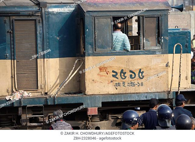 Two persons have been killed as a train derailed after being hit by a covered van near Kamalapur container terminal in Dhaka