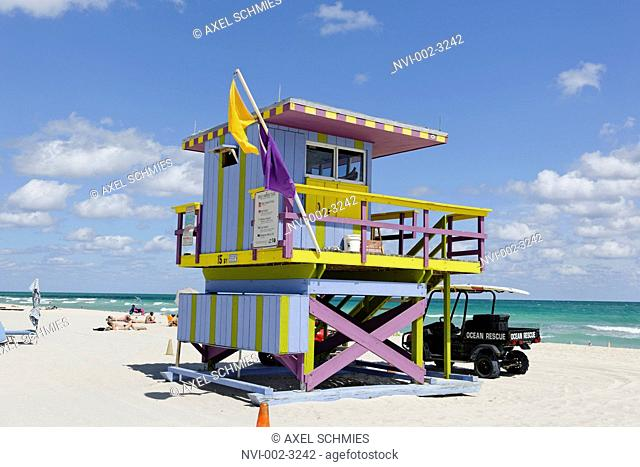 Beach watchtower '15 ST', Lifeguard Tower, Atlantic Ocean, South Beach Miami, Florida, USA