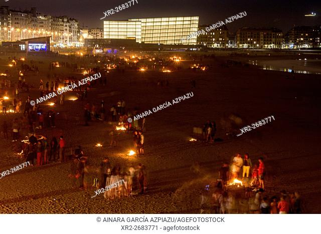 San Juan festival held on 23th June to celebrate the summer solstice, Donostia (San Sebastian), Basque Country, Spain