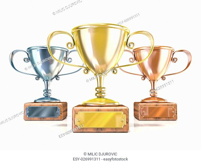 Gold, silver and bronze winners trophy cups. 3D render illustration isolated on white background