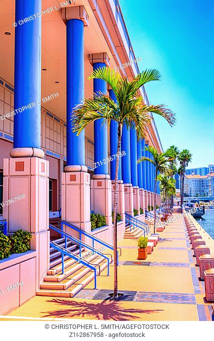 Outside the pink Tampa Convention Center building in Florida