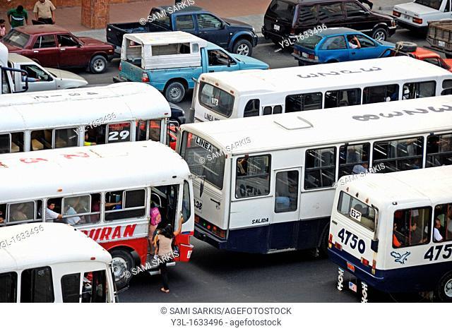 Public buses in traffic jam, Guayaquil, Ecuador