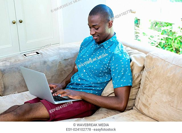 Happy young man using laptop in living room