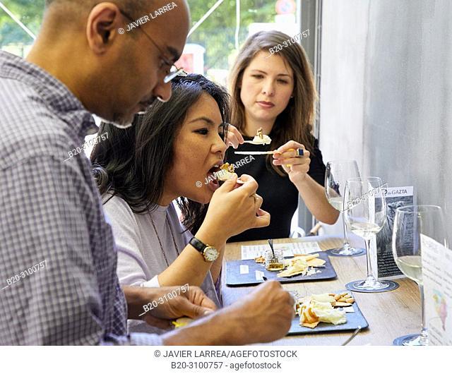 Tasting of cheeses, QdeGazta, Gastronomic tour, guide with tourists, Donostia, San Sebastian, Gipuzkoa, Basque Country, Spain, Europe