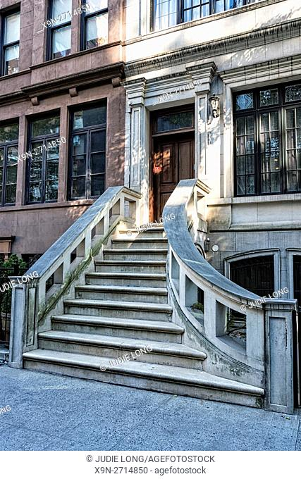 Elegant Upper East Side, Manhattan, New York City Brownstone Townhouse, with Serene Curved Stairway Leading from the STreet to the Door