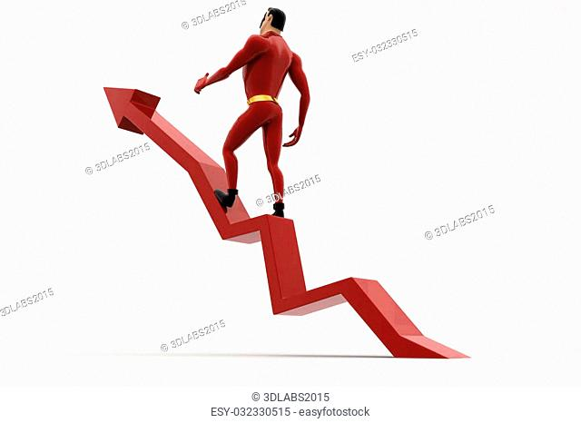 3d superhero walking on red arrow concept on white background, back angle view