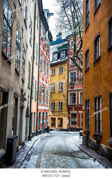 Little alleys in the old quarter of Gamla Stan in Stockholm, Sweden