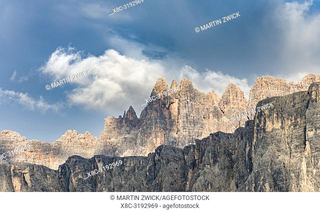 The Dolomites at Passo Giau, view of Croda da Lago, part of UNESCO world heritage the Dolomites. Europe, Central Europe, Italy