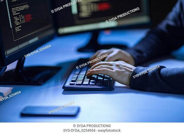 hacker using computer virus for cyber attack