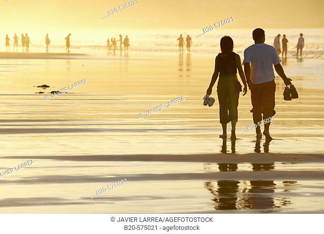 Sunset, Hendaye beach, Aquitaine, Pyrenées Atlantiques, France