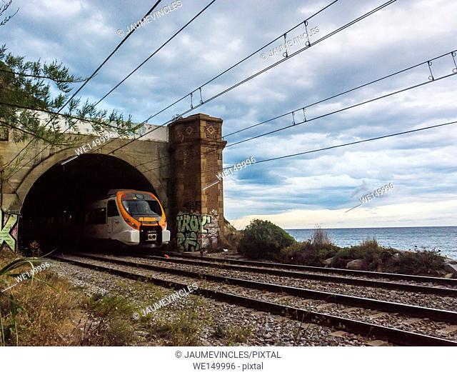 Commuter train, Arenys de Mar, Barcelona province, Spain