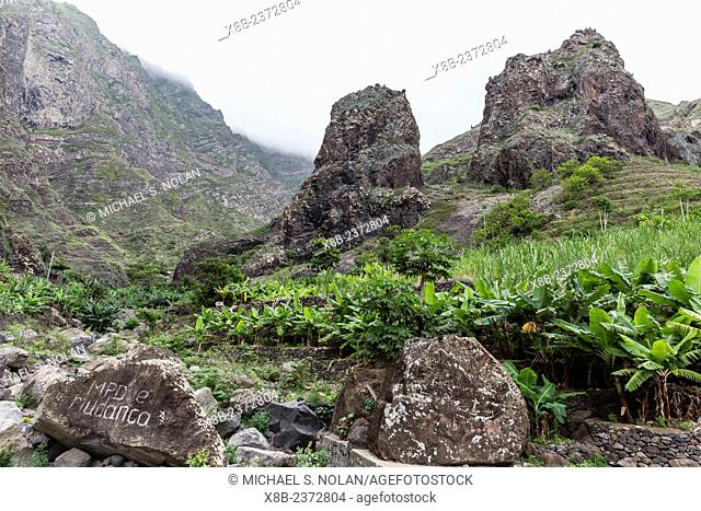 A view of the inscribed rock at Pedra da Nossa Senhora, Ribeira do Penedo, Santo Antao Island, Cape Verde