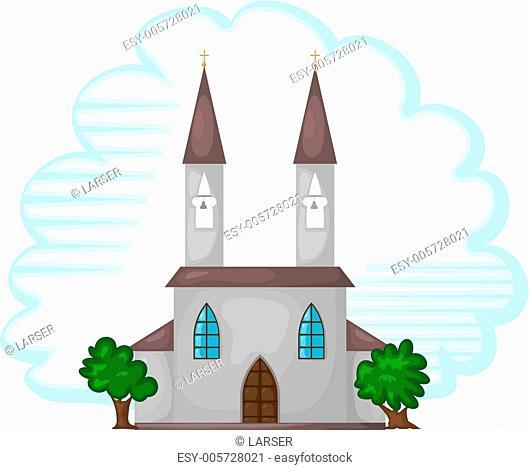 Cartoon illustration of the temple. eps10