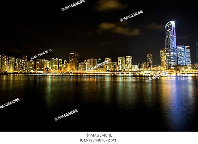 Skyline at night in Tsuen Wan, New Territories, Hong Kong