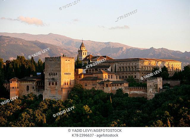 View over the Alhambra from Mirador San Nicolas, Granada, Andalucia, Spain