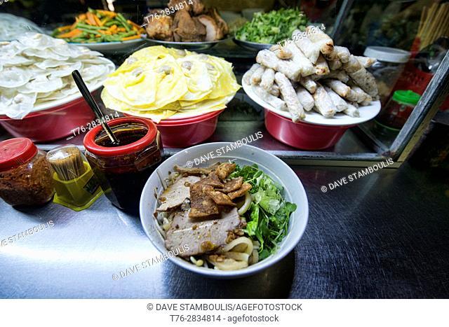 Cao Lau noodles, a local specialty, Central Market, Hoi An, Vietnam