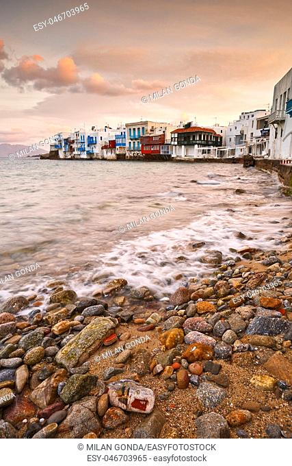 View of Little Venice in the town of Mykonos early in the morning, Greece.