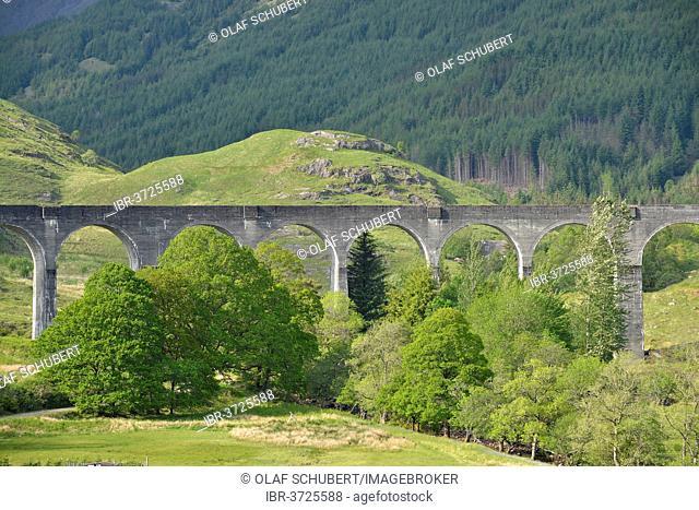 Glenfinnan Viaduct on the West Highland Line, used in the Harry Potter films, Glenfinnan, Scottish Highlands, Scotland, United Kingdom