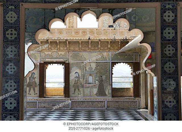 Interiors, City Palace, Udaipur, Rajasthan, India