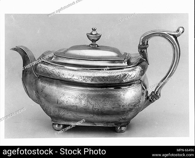 Teapot. Maker: Hugh Wishart (active ca. 1793-1824); Date: 1800-1830; Geography: Made in New York, New York, United States; Culture: American; Medium: Silver;...